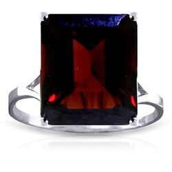 ALARRI 7 CTW 14K Solid White Gold Ring Natural Octagon Garnet