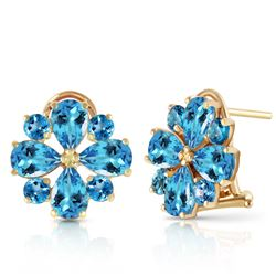 ALARRI 4.85 Carat 14K Solid Gold Fiore Blue Topaz Earrings