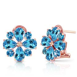 ALARRI 4.85 CTW 14K Solid Rose Gold Flower Blue Topaz Clip Earrings