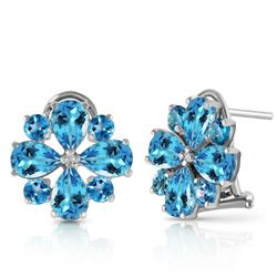 ALARRI 4.85 CTW 14K Solid White Gold Renowned Blue Topaz Earrings