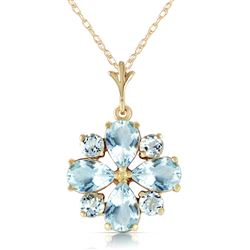 ALARRI 2.43 Carat 14K Solid Gold Cool Chic Aquamarine Necklace