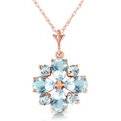 ALARRI 2.43 Carat 14K Solid Rose Gold Passion Aquamarine Necklace