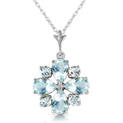 ALARRI 2.43 CTW 14K Solid White Gold Form Of Flattery Aquamarine Necklace
