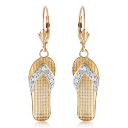 ALARRI 0.04 Carat 14K Solid Gold Shoes Leverback Earrings Diamond
