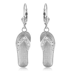 ALARRI 0.04 Carat 14K Solid White Gold Shoes Leverback Earrings Diamond