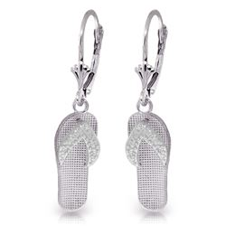 ALARRI 14K Solid White Gold Shoes Leverback Earrings