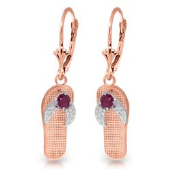 ALARRI 0.3 CTW 14K Solid Rose Gold Shoes Leverback Earrings Natural Ruby