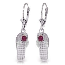 ALARRI 0.3 CTW 14K Solid White Gold Shoes Leverback Earrings Natural Ruby