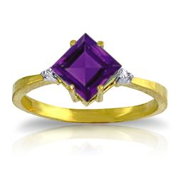 ALARRI 1.77 Carat 14K Solid Gold Triggering Purple Amethyst Diamond Ring