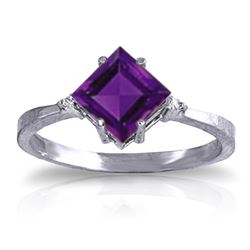ALARRI 1.77 Carat 14K Solid White Gold Avec Le Temps Amethyst Diamond Ring
