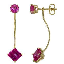 ALARRI 4.15 CTW 14K Solid Gold Riddled Love Pink Topaz Earrings