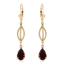 ALARRI 3 CTW 14K Solid Gold Fleur De Lis Garnet Earrings