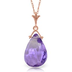 ALARRI 14K Solid Rose Gold Necklace w/ Briolette Purple Amethyst