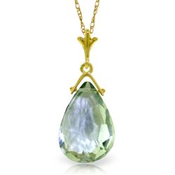 ALARRI 5.1 Carat 14K Solid Gold Necklace Briolette Green Amethyst