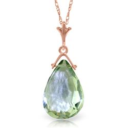 ALARRI 14K Solid Rose Gold Necklace w/ Briolette Green Amethyst