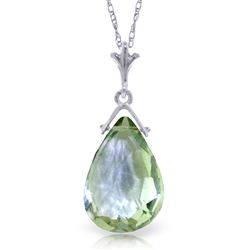 ALARRI 5.1 Carat 14K Solid White Gold Necklace Briolette Green Amethyst