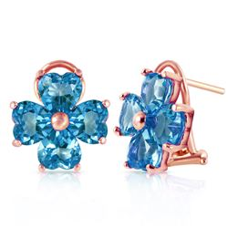 ALARRI 7.6 Carat 14K Solid Rose Gold Heart Cluster Blue Topaz Earrings