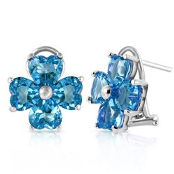 ALARRI 7.6 Carat 14K Solid White Gold Living Color Blue Topaz Earrings