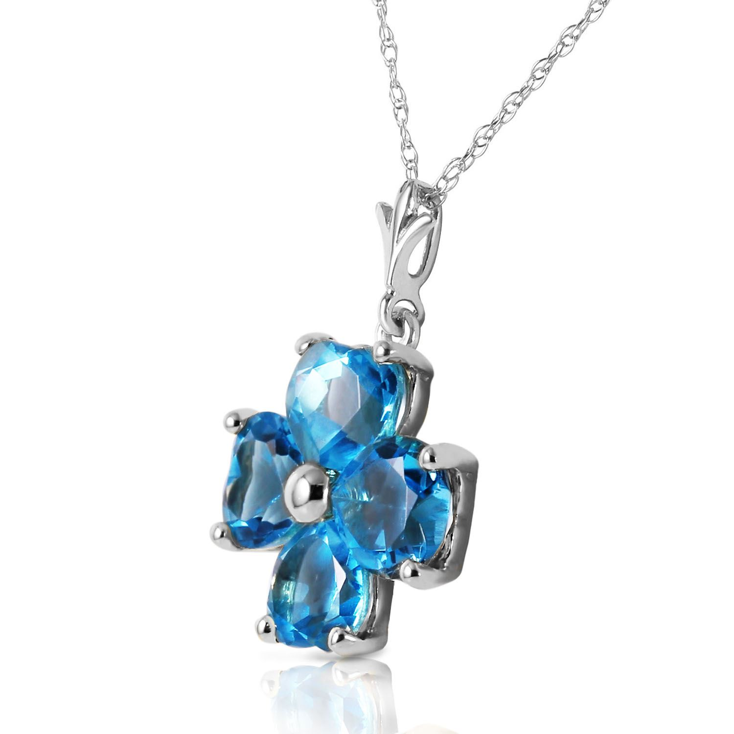 ALARRI 14K Solid White Gold Heart Necklace w// Natural Blue Topaz with 24 Inch Chain Length