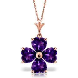 ALARRI 3.8 Carat 14K Solid Rose Gold Heart Cluster Amethyst Necklace