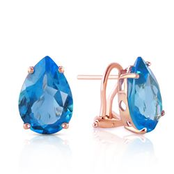 ALARRI 10 Carat 14K Solid Rose Gold Pear Shape Blue Topaz Earrings