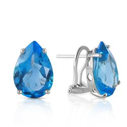 ALARRI 10 Carat 14K Solid White Gold Modern Drama Blue Topaz Earrings