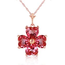 ALARRI 3.8 Carat 14K Solid Rose Gold Heart Cluster Pink Topaz Necklace