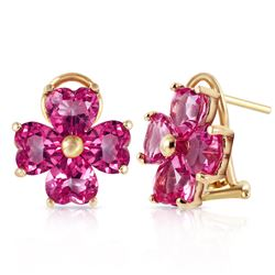 ALARRI 7.6 Carat 14K Solid Gold French Clips Earrings Natural Pink Topaz