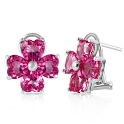 ALARRI 7.6 Carat 14K Solid White Gold French Clips Earrings Natural Pink Topaz