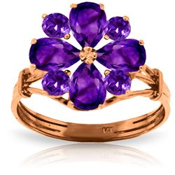 ALARRI 14K Solid Rose Gold Ring w/ Natural Purple Amethysts