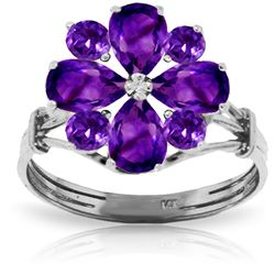 ALARRI 2.43 Carat 14K Solid White Gold Hear Both Sides Amethyst Ring