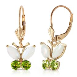 ALARRI 1.39 Carat 14K Solid Gold Butterfly Earrings Opal Peridot
