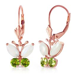 ALARRI 1.39 Carat 14K Solid Rose Gold Butterfly Earrings Opal Peridot