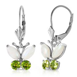 ALARRI 1.39 Carat 14K Solid White Gold Butterfly Earrings Opal Peridot