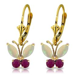 ALARRI 1.39 Carat 14K Solid Gold Butterfly Earrings Opal Ruby
