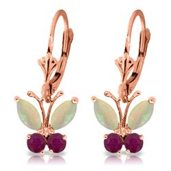 ALARRI 1.39 Carat 14K Solid Rose Gold Butterfly Earrings Opal Ruby