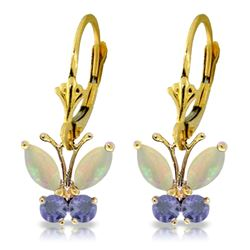 ALARRI 1.39 CTW 14K Solid Gold Butterfly Earrings Opal Tanzanite