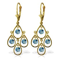 ALARRI 2.4 Carat 14K Solid Gold Pleasure Blue Topaz Earrings