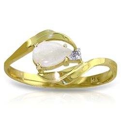 ALARRI 0.26 Carat 14K Solid Gold Ring Natural Diamond Opal