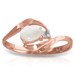 ALARRI 0.26 Carat 14K Solid Rose Gold Ring Natural Diamond Opal