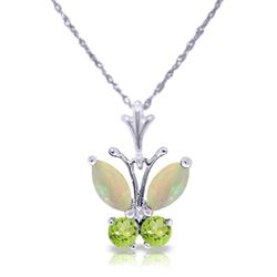 ALARRI 0.7 Carat 14K Solid White Gold Butterfly Necklace Opal Peridot