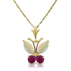 ALARRI 0.7 Carat 14K Solid Gold Butterfly Necklace Opal Ruby