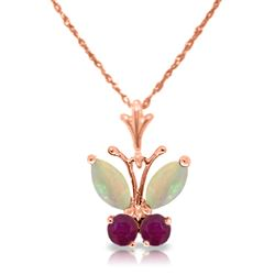 ALARRI 0.7 Carat 14K Solid Rose Gold Butterfly Necklace Opal Ruby