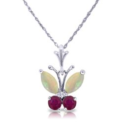 ALARRI 0.7 Carat 14K Solid White Gold Butterfly Necklace Opal Ruby