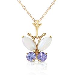 ALARRI 0.7 CTW 14K Solid Gold Butterfly Necklace Opal Tanzanite