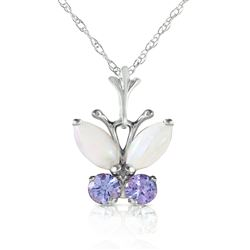 ALARRI 0.7 Carat 14K Solid White Gold Butterfly Necklace Opal Tanzanite