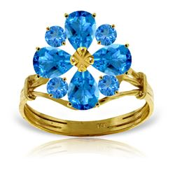 ALARRI 2.43 Carat 14K Solid Gold Love Theme Blue Topaz Ring