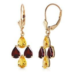 ALARRI 3.9 Carat 14K Solid Gold First Love Citrine Garnet Earrings