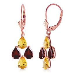ALARRI 3.9 CTW 14K Solid Rose Gold Autumn Citrine Garnet Earrings