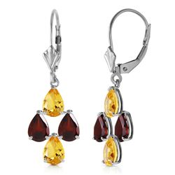 ALARRI 3.9 CTW 14K Solid White Gold Signs Of Rapture Citrine Garnet Earrings